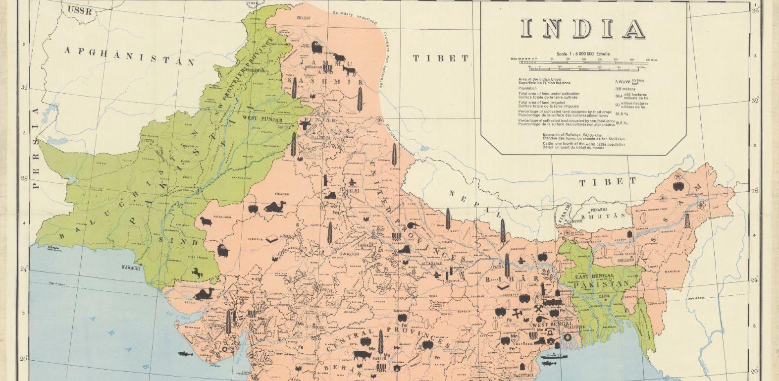 Carte des Indes au lendemain de l'indépendance  (Union indienne en rouge et Pakistan en vert), Kümmerly & Frey, 1948 - source : Gallica-BnF
