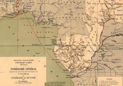 Itinéraire général / Mission Saharienne Foureau-Lamy ; 1898-1900 - Source BnF
