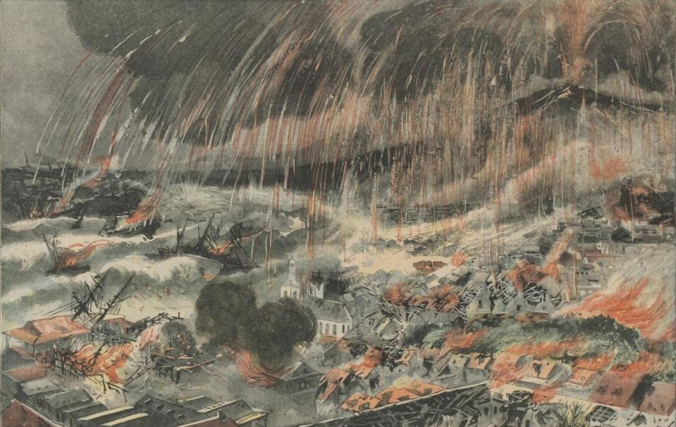 Terrible éruption d'un volcan à la Martinique. - La ville de Saint-Pierre anéantie ; Le Petit Parisien. Supplément littéraire illustré ; 25 mai 1902 - Source BnF.