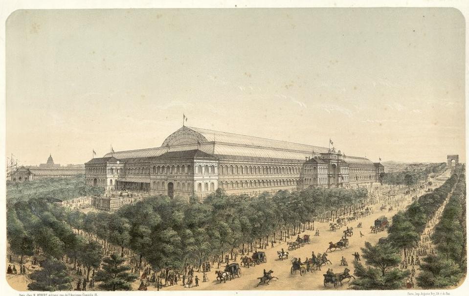 Vue générale du palais de l'Industrie prise de la place de la Concorde (exposition universelle de 1858) ; H. Hubert (Paris) - Source BnF.