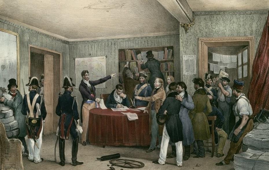 27 juillet 1830. Saisie Des Presses au National. [estampe]  ; Lith. de Bichebois aîné - Source BnF