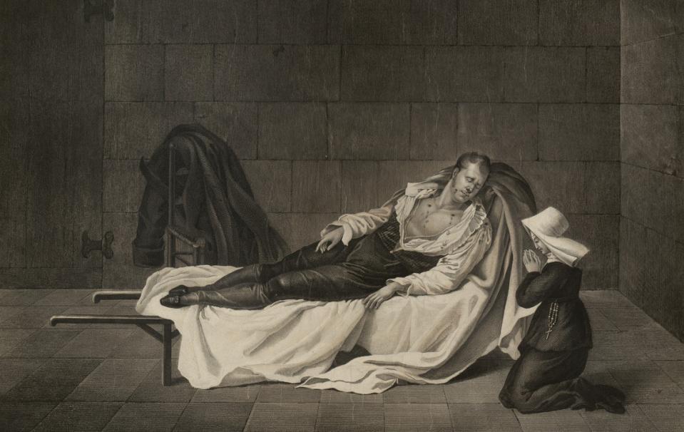 Le Maréchal Ney étendu mort sur un brancard, ayant à ses cotés une soeur de charité en prières - Source BnF
