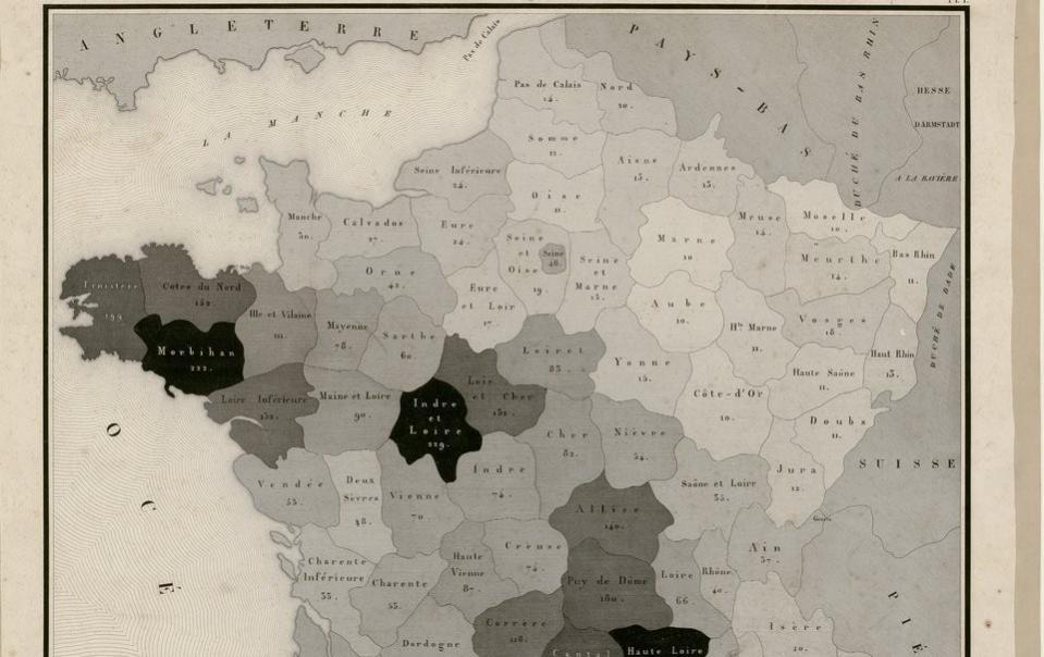 Carte figurative de l'instruction populaire de la France