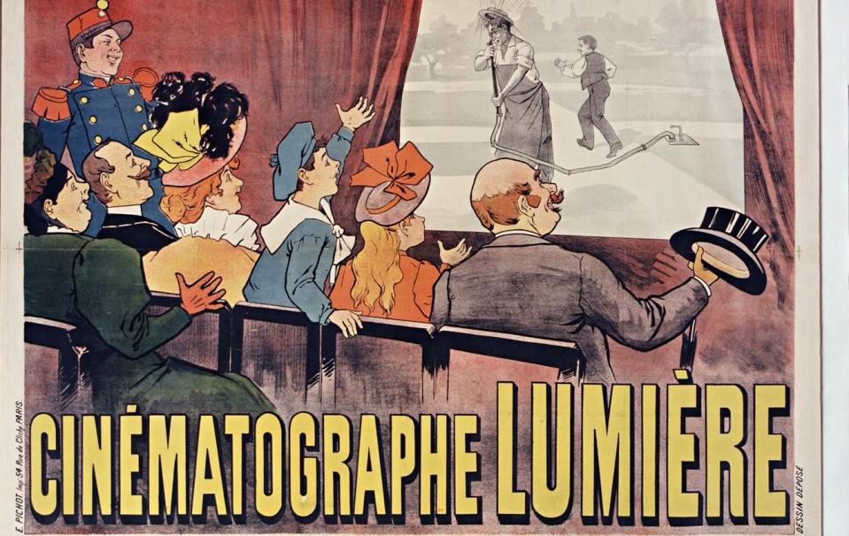 Cinématographe Lumière [affiche] ; Maurice Auzolle [Illustrateur] ; Pichot (Paris) ; 1896 - Source BnF