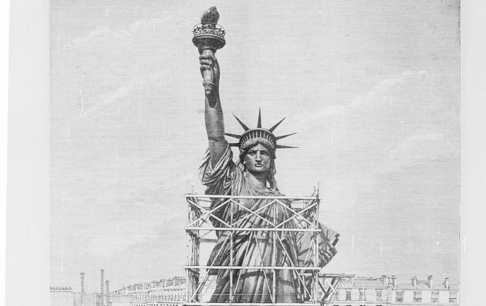 Remise de la statue colossale de la Liberté à Mr Morton, ambassadeur des Etats-Unis ; Méaulle [graveur] ; H. Meyer [dessinateur] ; 1884