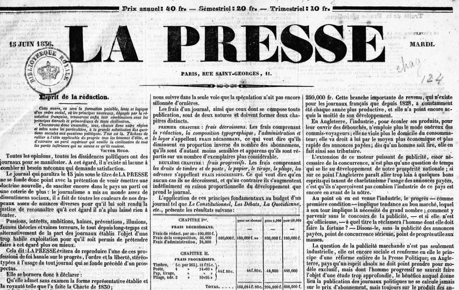 La Presse ; 15 juin 1836