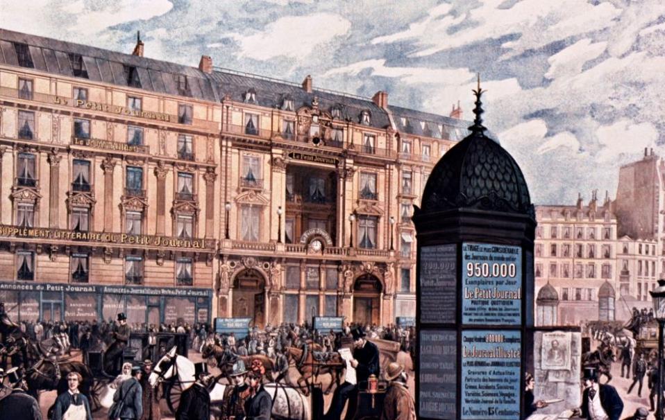 Affiche : Agrandissement du Petit Journal... chaque jour : 950.000 exemplaires ; Jules Chéret ; 1890 - Source BnF