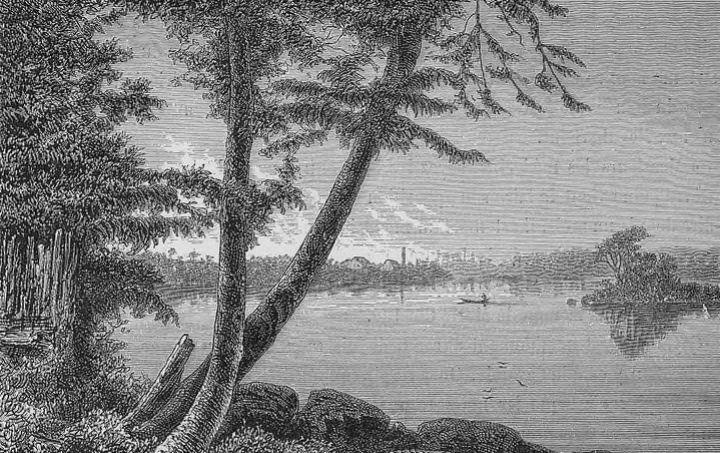 Embouchure du Maroni, près du pénitencier de Saint-Laurent ; Illustrations de Voyages dans l'Amérique du Sud ; gravure ; 1883 ; Édouard Riou ; Source : BnF