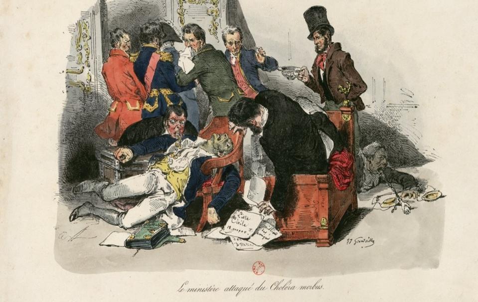Le ministère attaqué du Choléra morbus par Grandville (1803-1847) - source BnF