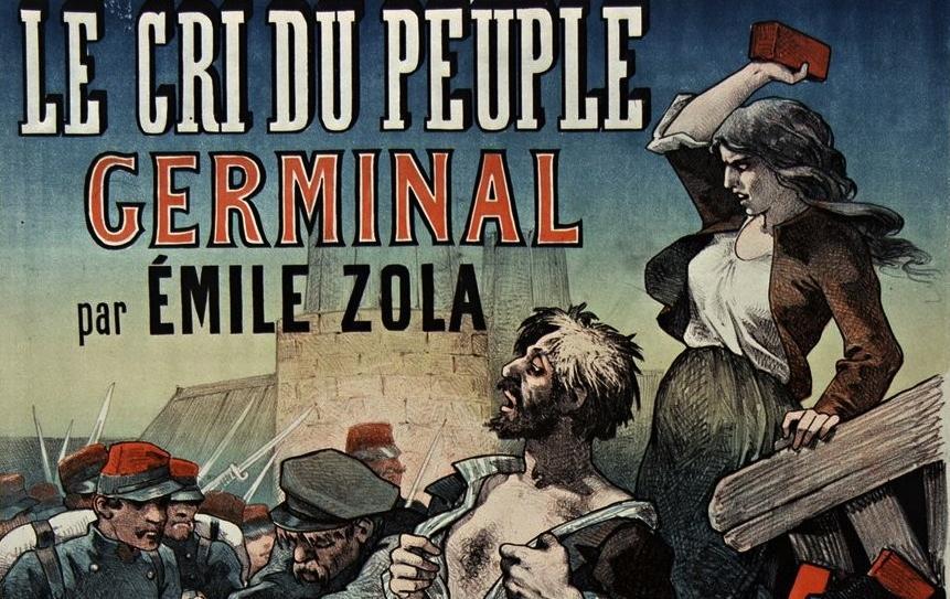 """Lire dans le Cri du Peuple, """"Germinal"""" par Emile Zola ; affiche ; 1885 ; Source : BnF"""