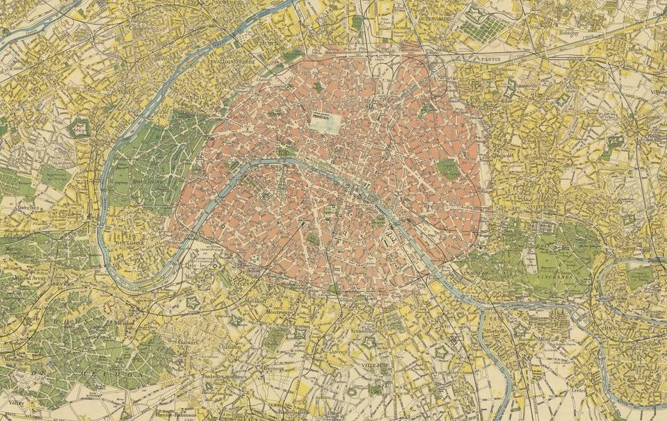 Plan de la banlieue de Paris - Source BnF