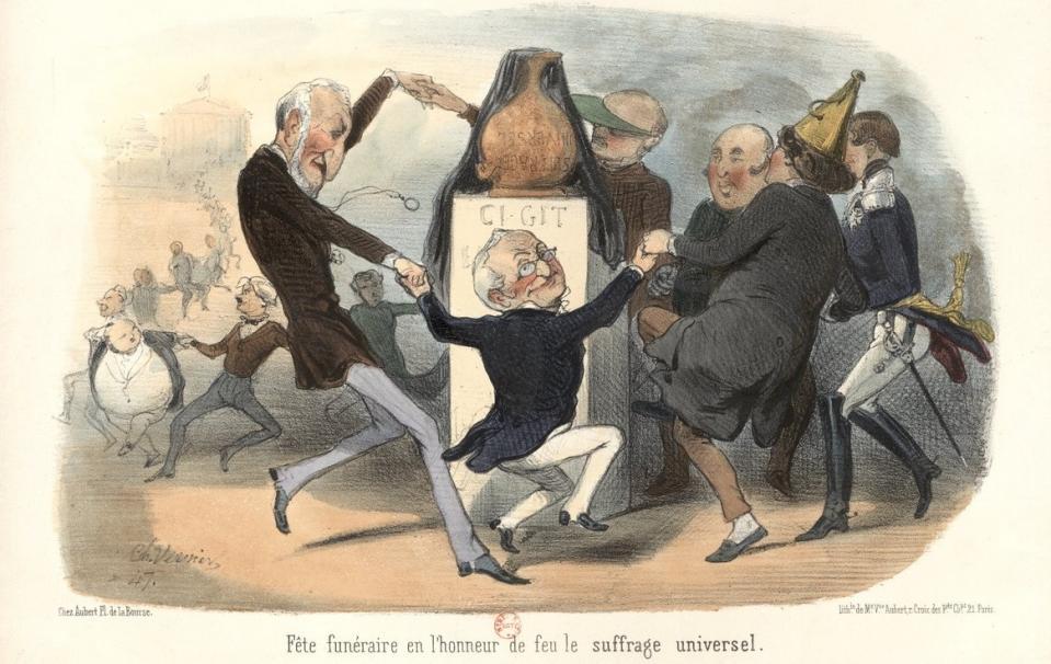 Fête funéraire en l'honneur de feu le suffrage universel ; Charles Vernier ; Aubert & Cie (Paris) ; 1850 - Source BnF.