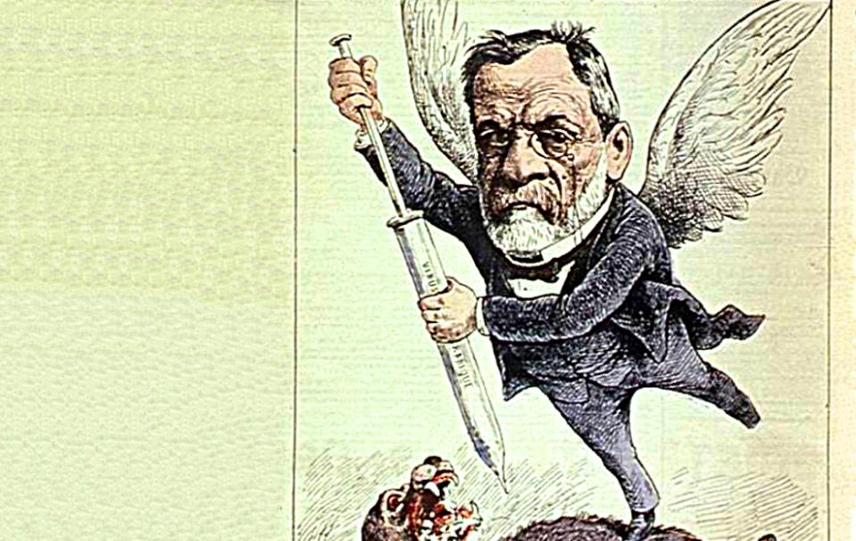"""L'ange de l'inoculation"" ; Gilbert-Martin ; Le Don Quichotte ; 13 mars 1886 - Source BnF."