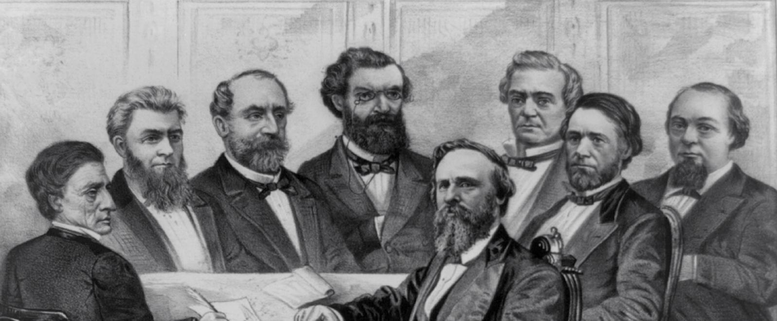 Affiche représentant le cabinet de conseillers du président Rutherford Hayes, 1877 - source : WikiCommons