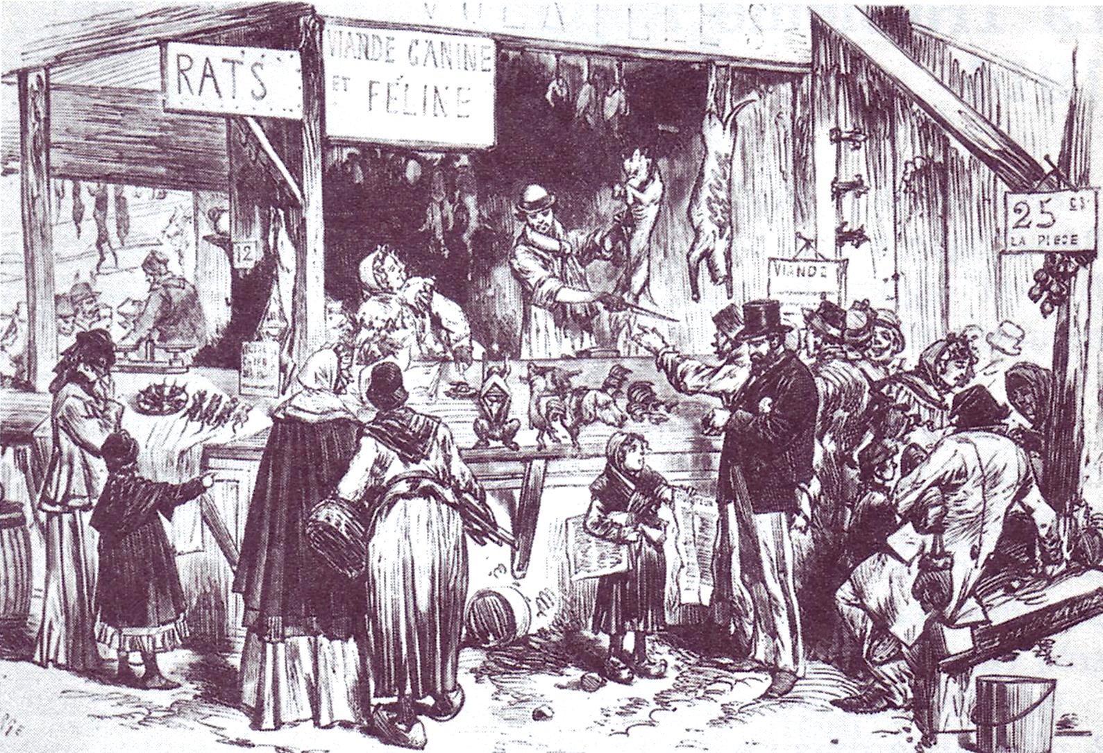 Illustration de la pénurie des viandes pendant le Siège de Paris, Le Tintamarre, circa 1900 - source : RetroNews-BnF