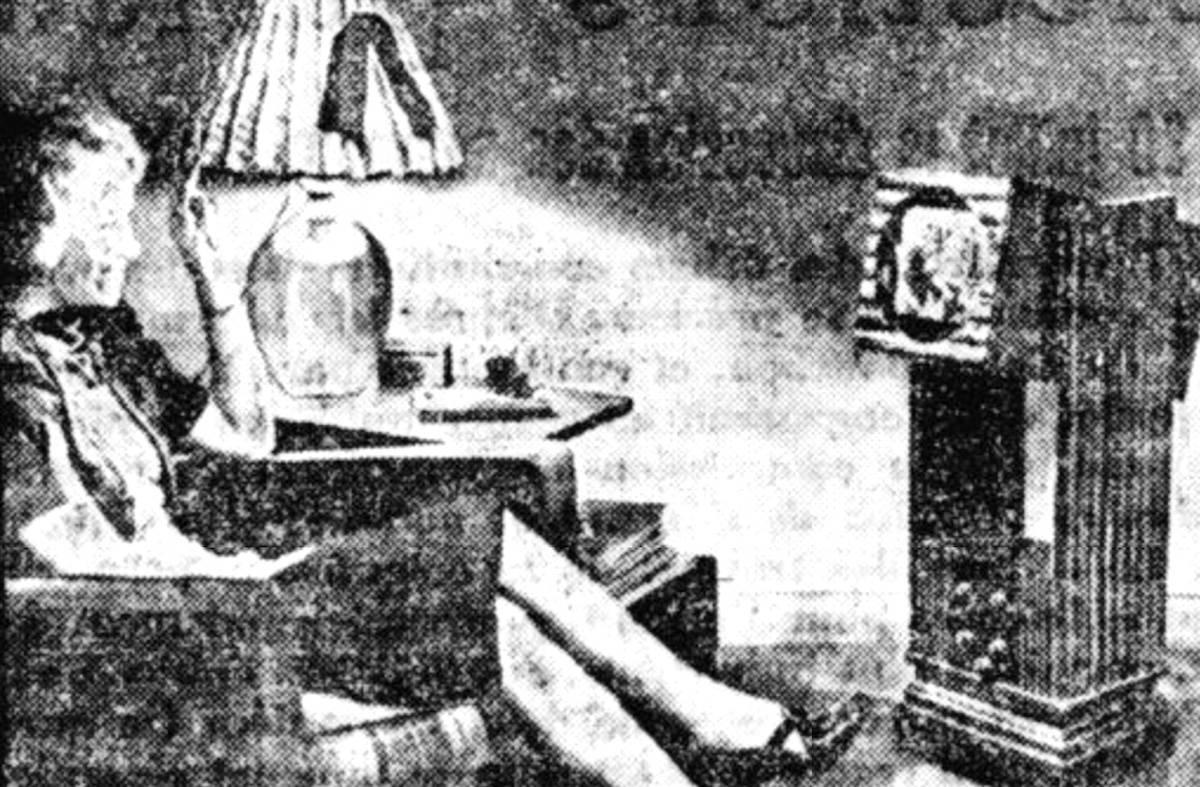 Une jeune fille regardant la télévision depuis son salon, L'Aube, 1946 - source : RetroNews-BnF