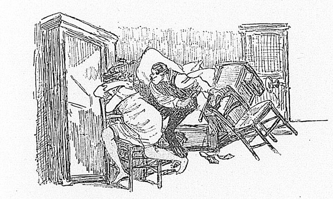 Illustration tirée du recueil « Dans la rue, chansons et monologues », p.26, scène de ménage violente, 1899 - source : Gallica-BnF
