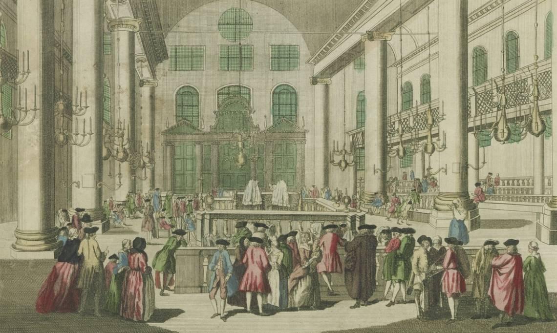 « Les Juifs dans leur Synagogue, célébrant une de leurs Solemnités appelée le Purim », estampe, 1750 - source : Gallica-BnF