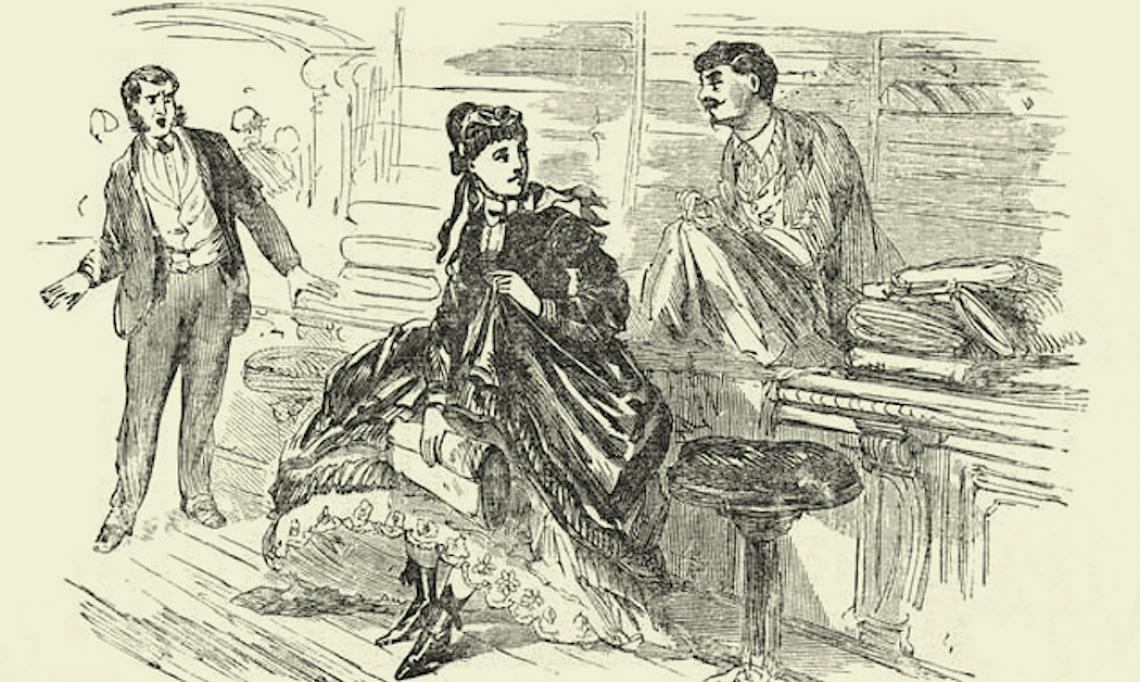 """""""A Female Shoplifter,"""" illustration d'une femme volant à l'étalage, James D. McCabe Jr, 1872 - source : WikiCommons"""