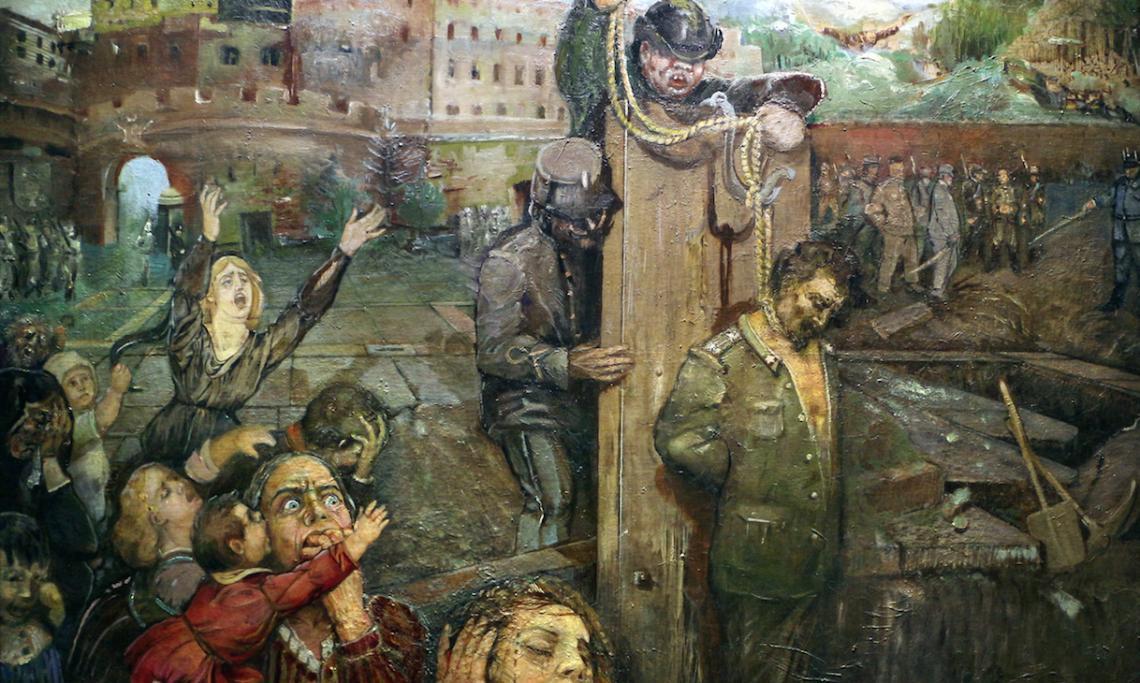 « L'exécution de Cesare Battisti », tableau du peintre italien Carlo Barbieri, 1934 - source : WikiCommons