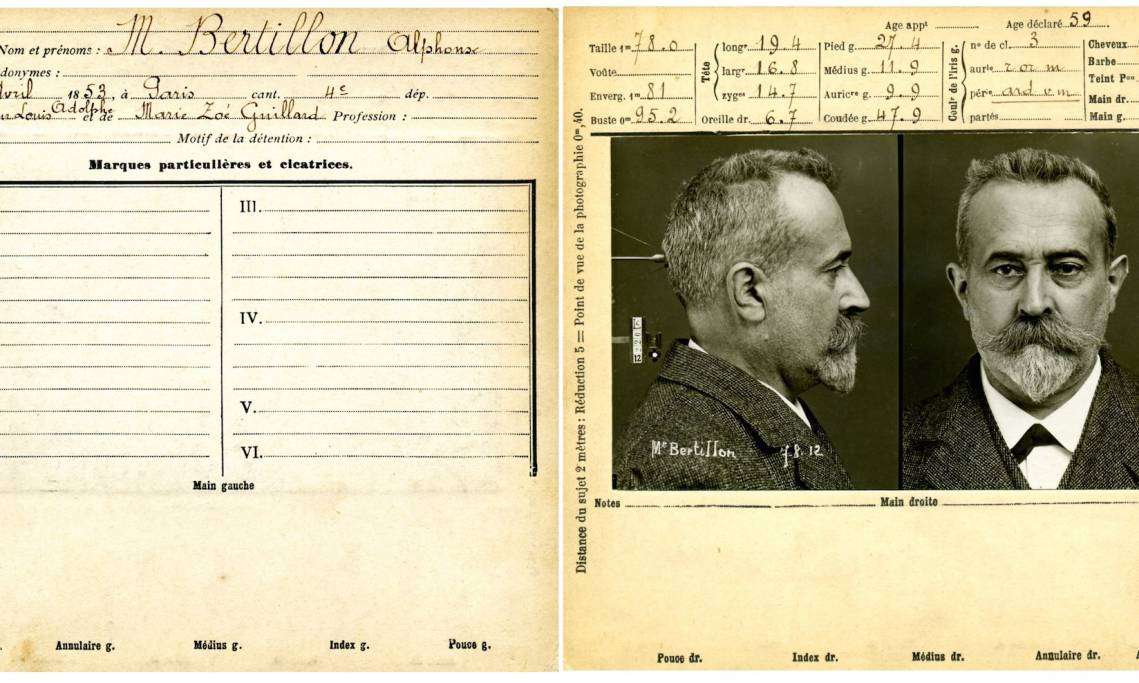 Fiche anthropométrique d'Alphonse Bertillon, par lui-même, 1912 - source : Collections historiques du Service Régional d'Identité Judiciaire de Paris