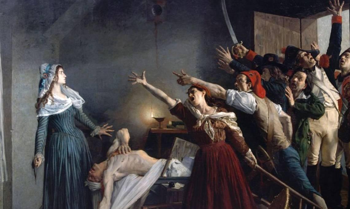 « L'assassinat de Marat », peinture de Jean-Joseph Weerts, 1880 - source : WikiCommons