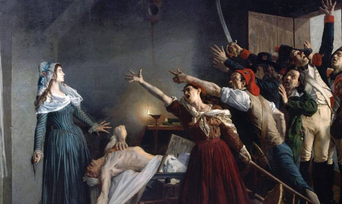 « L'assassinat de Marat », peinture de Jean-Joseph Weerts, 1880 - source : WikiCommons