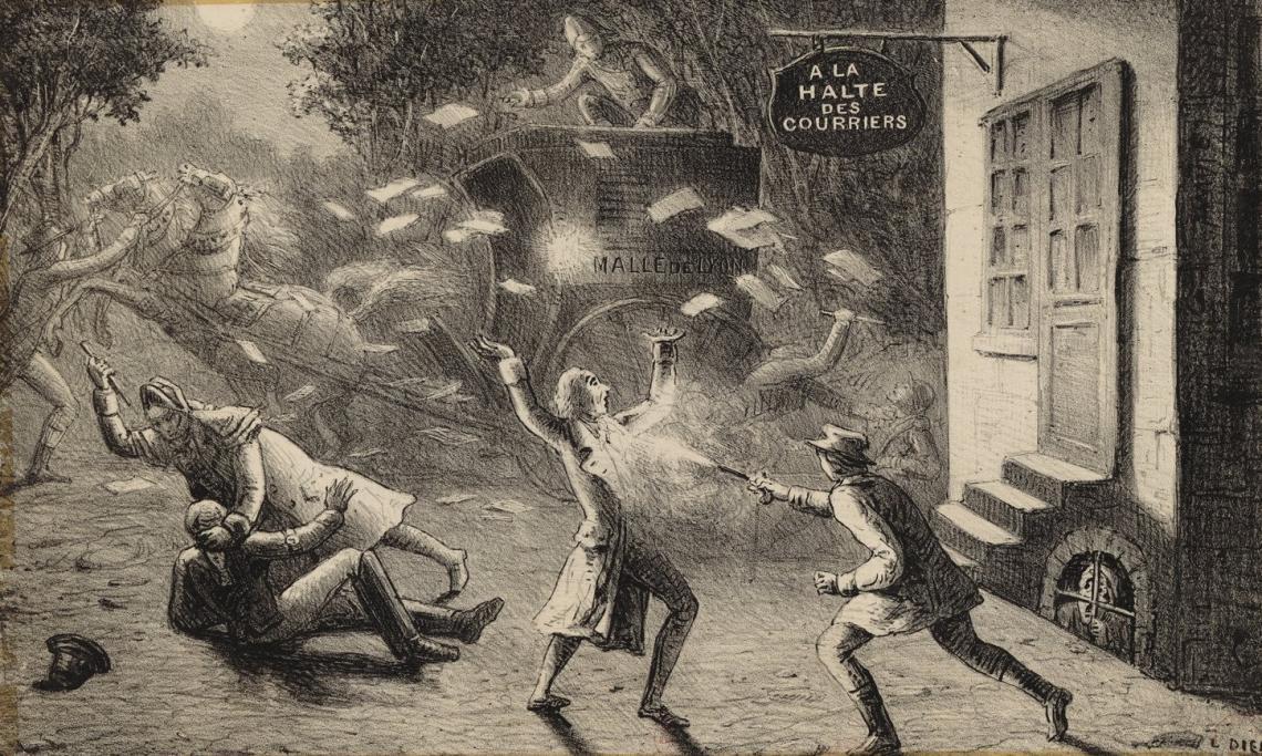 Illustration pour «Le courrier de Lyon : drame en cinq actes », estampe, L. Dien, 1850 - source : Gallica-BnF