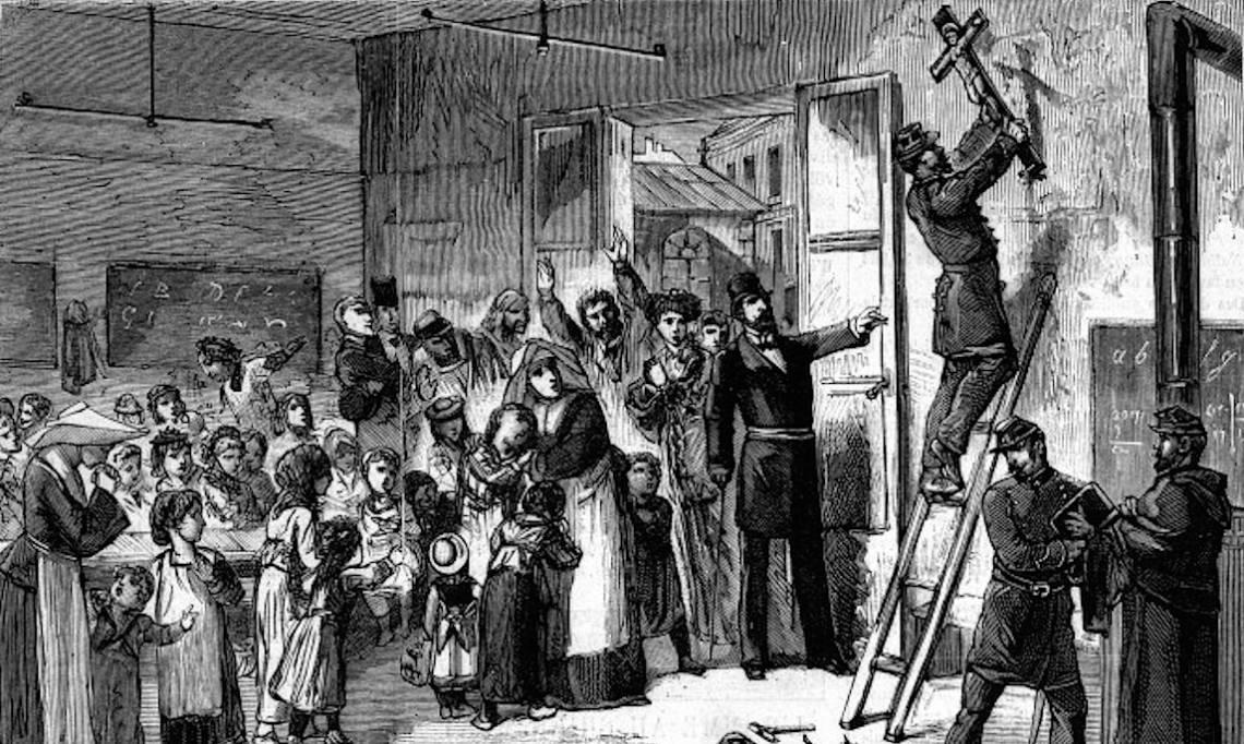 « L'enlèvement des crucifix dans les écoles de la ville de Paris », estampe, M. Gerlier, 1881 - source : Musée Carnavalet-Domaine Public