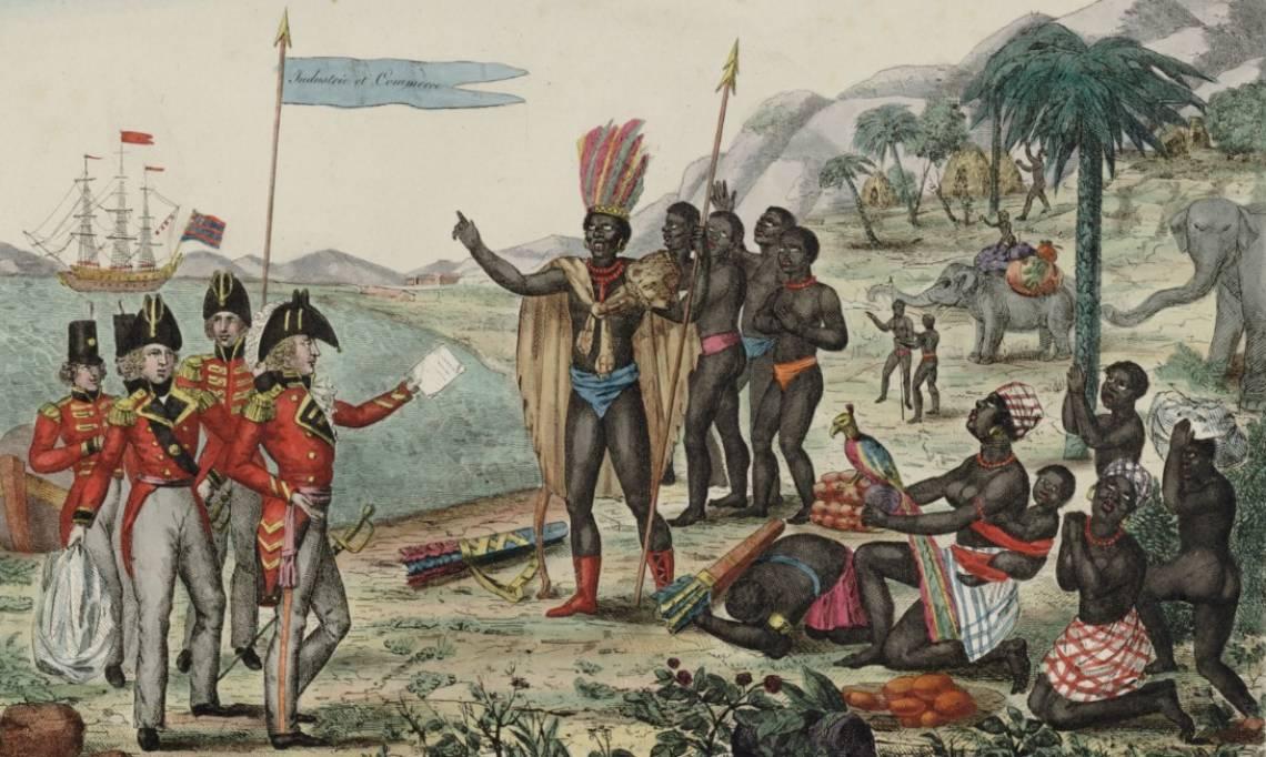 Les Anglais faisant part aux Africains du traité de paix des puissances alliées du 20 novembre 1815, estampe - source : Gallica-BnF