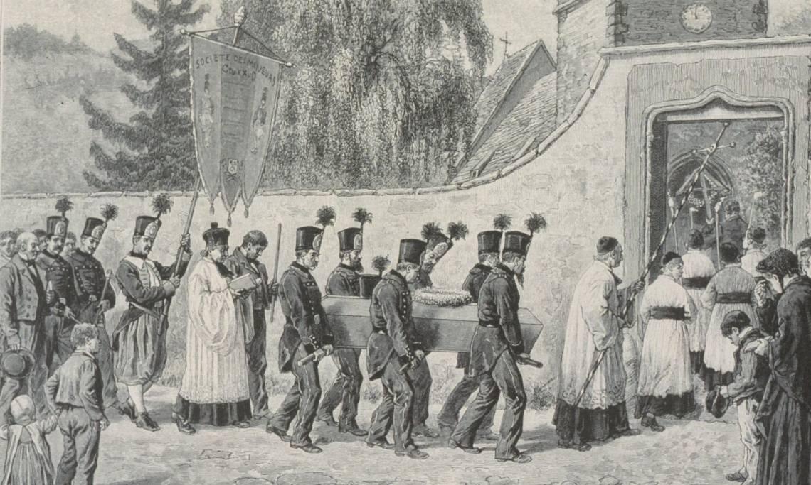 Enterrement d'un mineur, par Frédéric Théodore, 1889 - source : Gallica-BnF