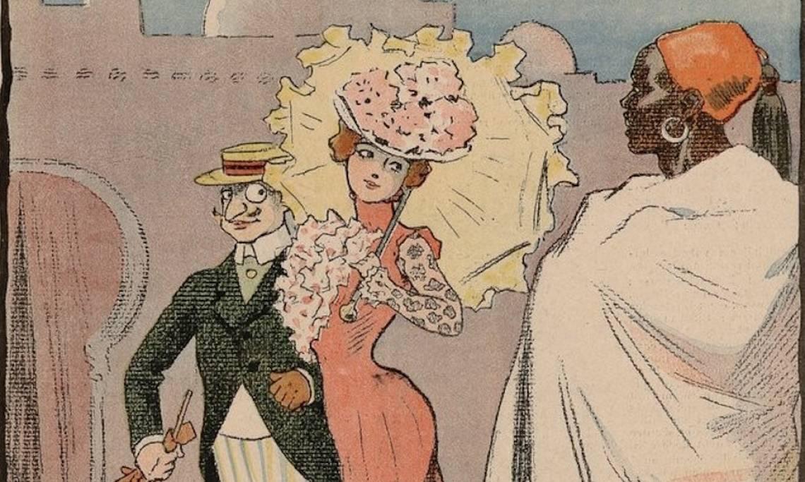 «À l'exposition Expansion coloniale», dessin de G. Meunier, 1907 - source : Gallica-BnF