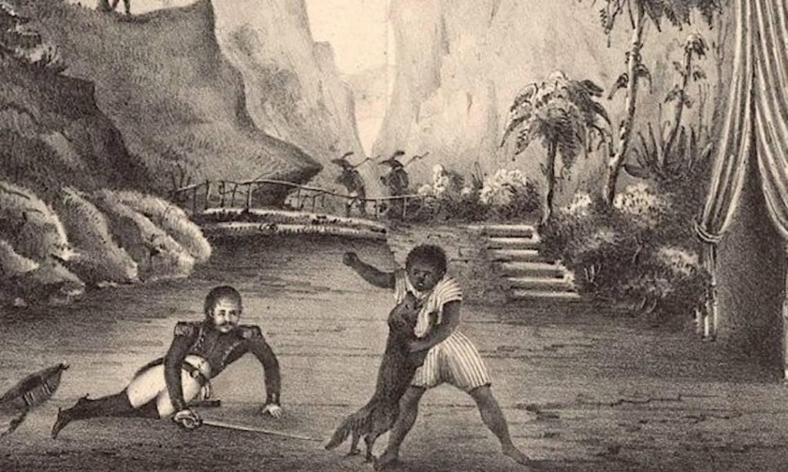 Affiche du drame «Les Massacres de Saint-Domingue», dessin de A. Borrel - source : Gallica-BnF