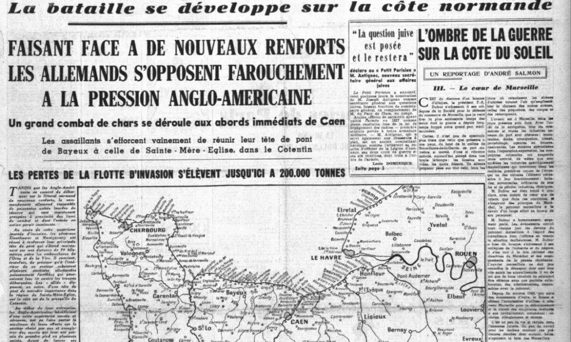 Une du Petit Parisien relatant « l'opposition farouche » de l'armée allemande en Normandie, 10 juin 1944 - source : RetroNews-BnF