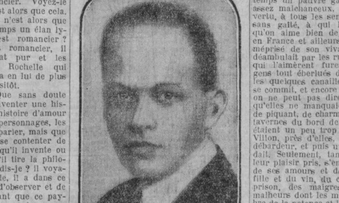 Photo de Pierre Drieu La Rochelle parue dans Paris-Soir, mars 1930 - source : RetroNews-BnF