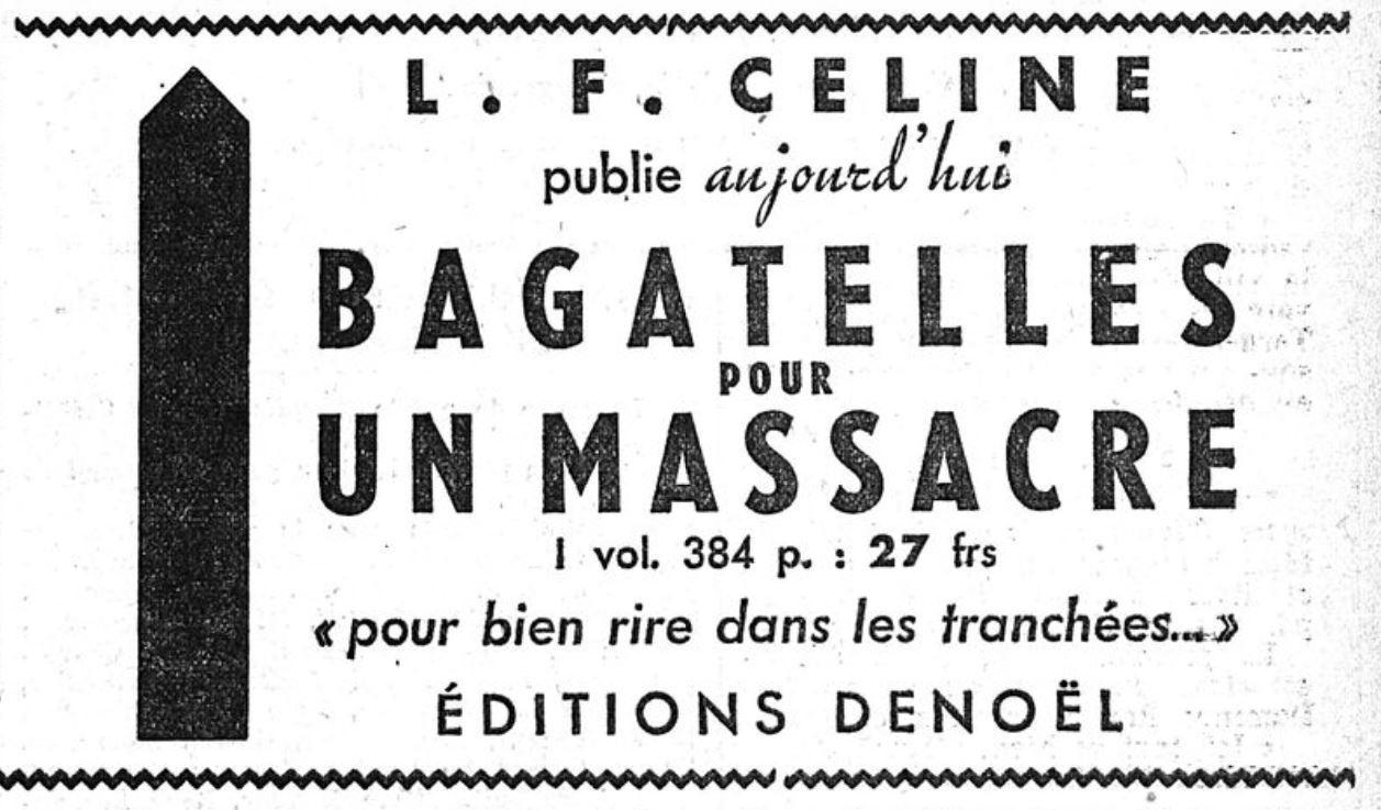 1cac9264e9c Bagatelles pour un massacre »   Céline l antisémite