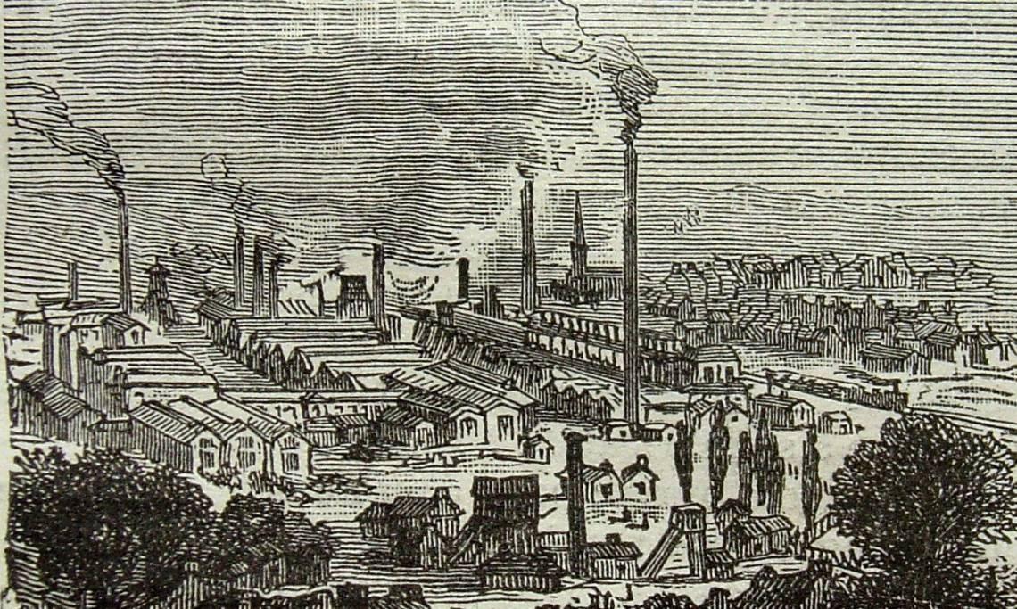 Les usines Schneider au Creusot, gravure, XIXe siècle - source : WikiCommons