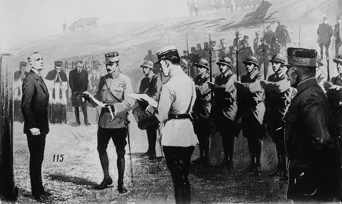 L'exécution d'Albert Leo Schlageter par l'armée française, gravure, circa 1923 - source : Library of Congress