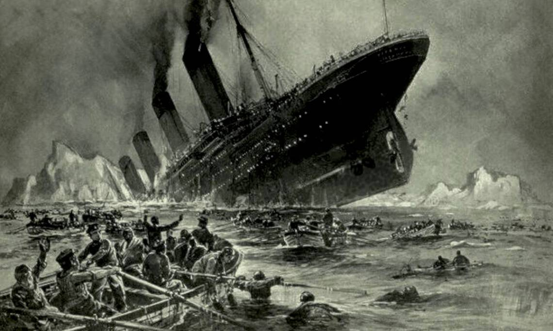 Le Titanic s'enfonçant dans l'océan, illustration de Willy Stöwer parue dans Die Gartenlaube, 1912 - source : WikiCommons