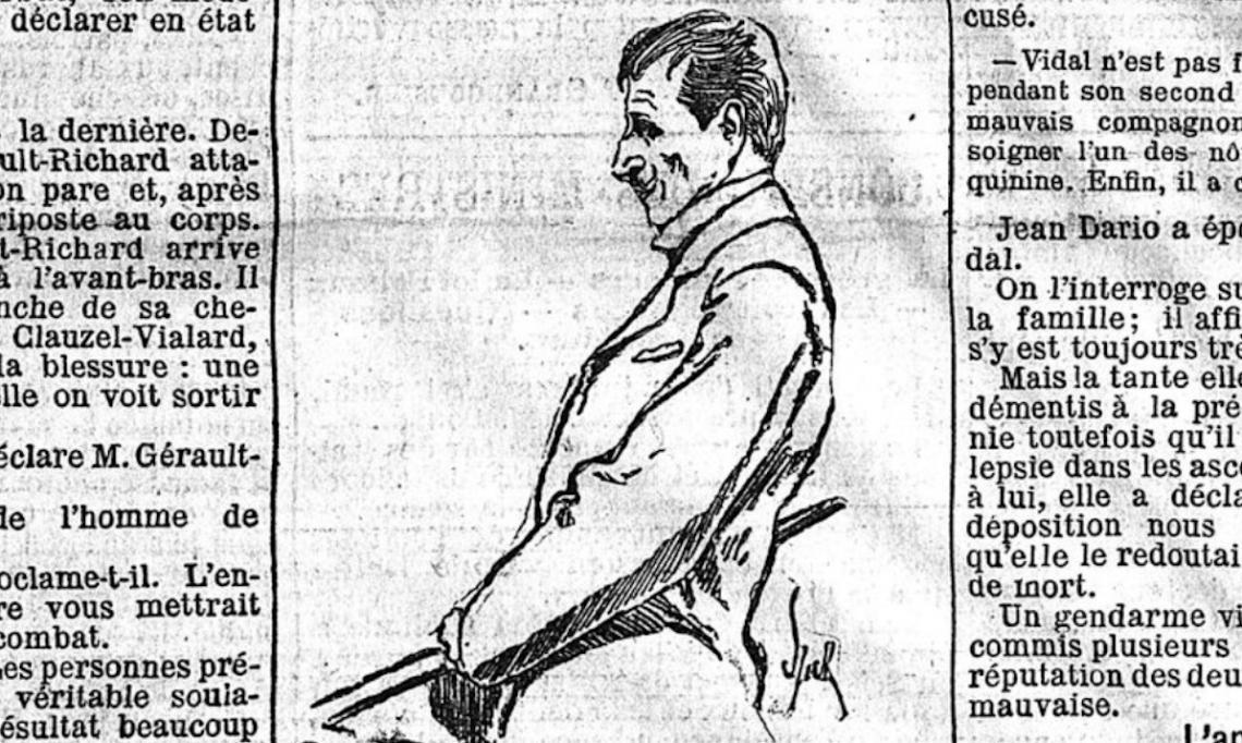 Portrait de l'assassin Henri Vidal sur le banc des accusés dans Le Matin, 5 novembre 1902 - source : RetroNews-BnF