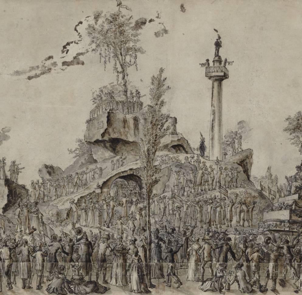Montagne élevée au champ de la Réunion pour la fête de l'Être suprême, dessin, 1794 - source : Gallica-BnF