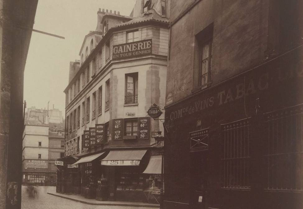 Ancien théâtre Doyen et maison où ont eu lieu le 14 avril 1834 les massacres de la rue Transnonain, photographie d'Eugène Atget, 1901 - source : Gallica-BnF