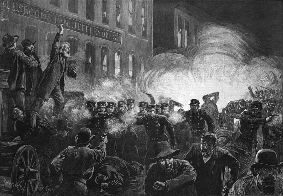 Affrontements entre forces de l'ordre et militants ouvriers à Haymarket Square, Chicago, 1886 - source : WikiCommons